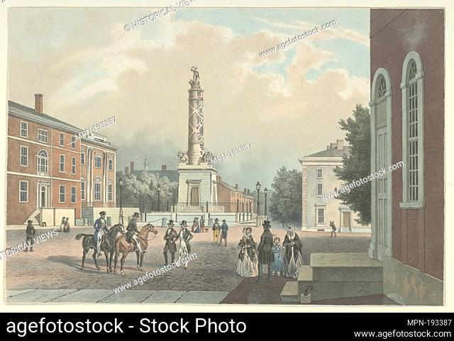 Baltimore Battle Mounument. Kollner, Augustus (b. 1813) (Artist) Goupil, Vibert & Co. (Publisher) Deroy, Laurent (1797-1886) (Lithographer) Cattier, F