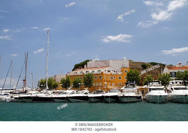 Boats in the natural harbour of Mao, Mahon, Menorca, Minorca, Spain, Europe