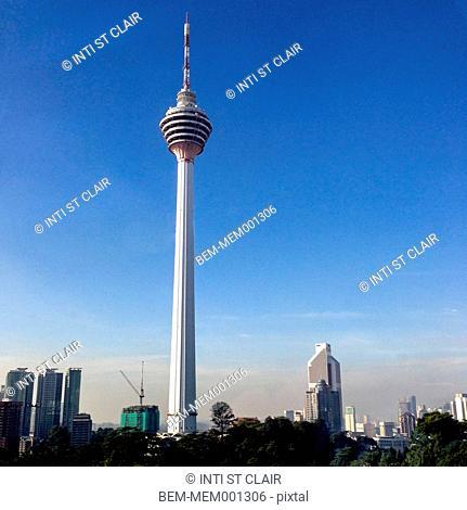 Kuala Lumpur tower against blue sky, Kuala Lumpur, Malaysia
