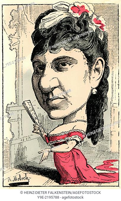 Roselia Rousseil, 1841- ?, a French actress and playwright, caricature, 1882, by Alphonse Hector Colomb pseudonym B. Moloch, 1849-1909, a French caricaturist