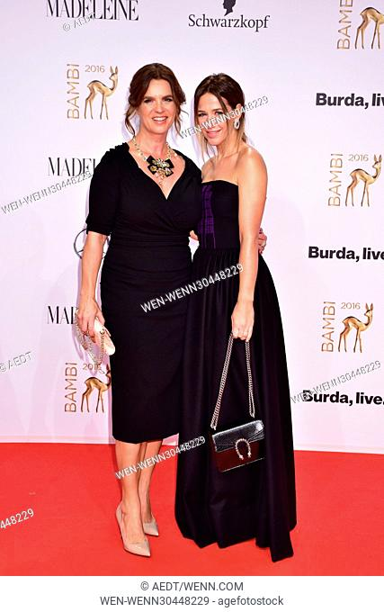 Katarina Witt, Alexandra Neldel at Bambi Award red carpet arrivals at Musical Theatre Potsdamer Platz. Berlin, Germany - 17.11