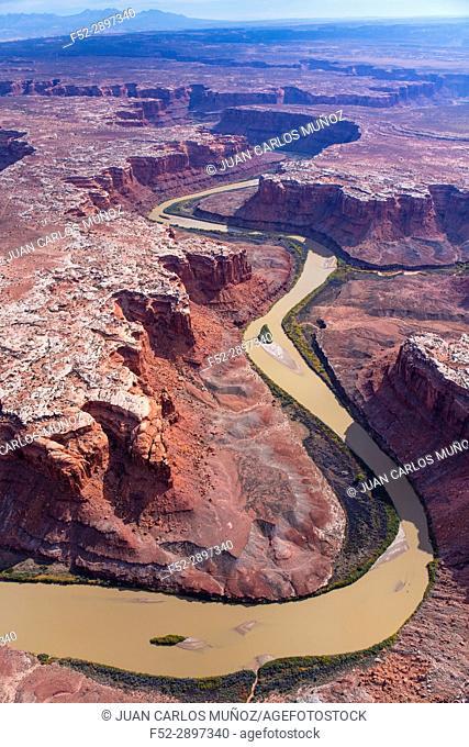 Aerial View, Green River, Canyonlands National Park, Utah, Usa, America