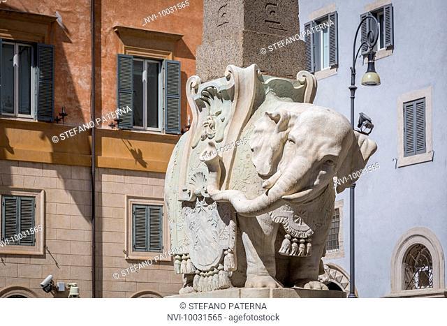 Bernini's Elephant, obelisk, Ercole Ferrata, design by Gian Lorenzo Bernini, Rome, Lazio Italy