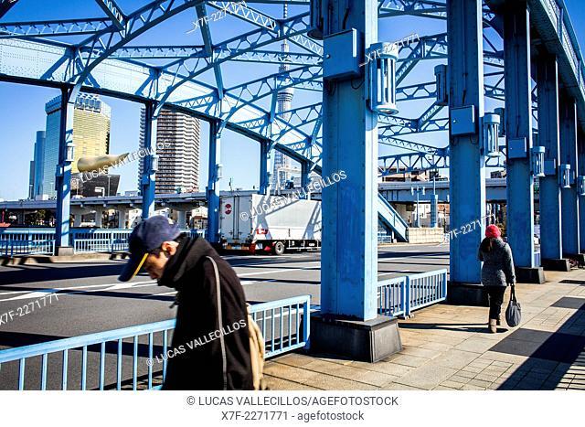Komagata bashi Bridge, in background Asahi Beer building and Sky Tree, Tokyo, Japan
