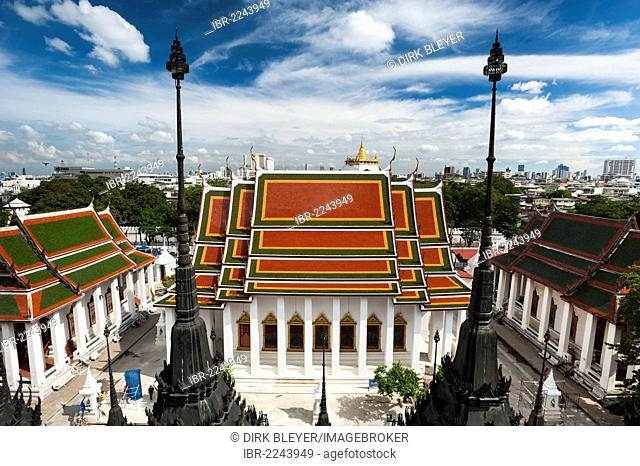 View of Wat Saket and Phu Khao Thong or the Golden Mount, Bangkok, Thailand, Asia