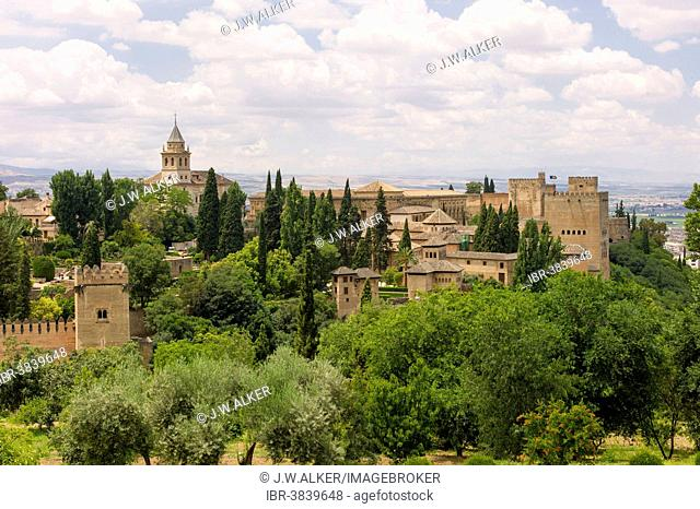 View of the Sabikah Hill seen from the Alhambra palace, Granada, Andalusia, Spain