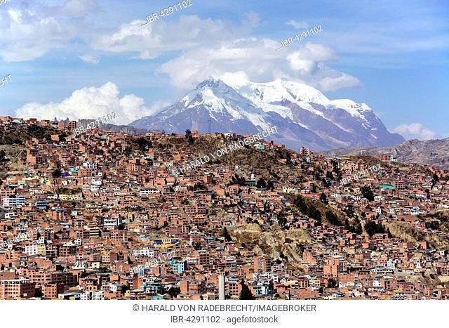 Slums, behind Mount Illimani, La Paz, Bolivia