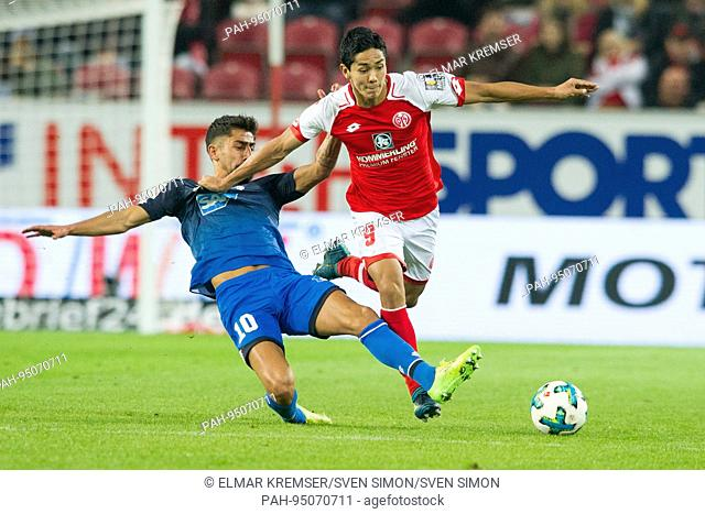 Yoshinori MUTO, rechts, FSV FSV Mainz 05, gegen Kerem DEMIRBAY, TSG 1899 Hoffenheim, Aktion, Zweikampf, Fussball 1. Bundesliga, 5