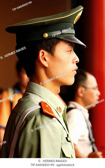 China, Beijing, close up of policeman