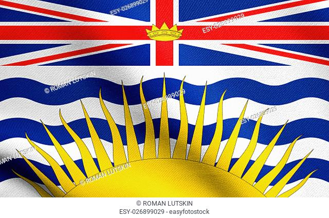 Canadian provincial BC patriotic element and official symbol. Canada banner and background. Flag of the Canadian province of British Columbia waving in the wind...