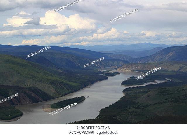 The Yukon River seen from Midnight Dome as it heads north, Dawson City, Yukon, Canada