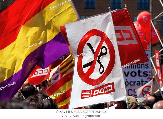 May Day Demonstration 2012, Republican flag, Barcelona, Spain
