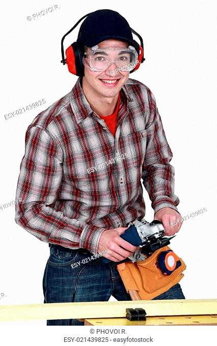 Man holding a power tool