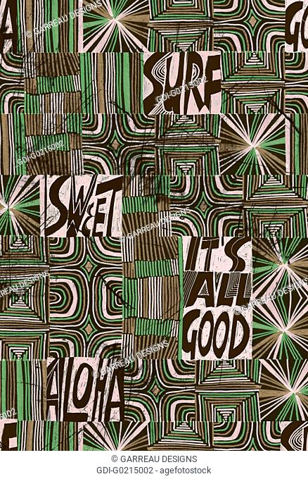 Green line design with surf words