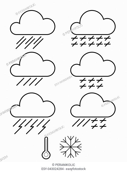 Web elements weather icons for meteorological forecast