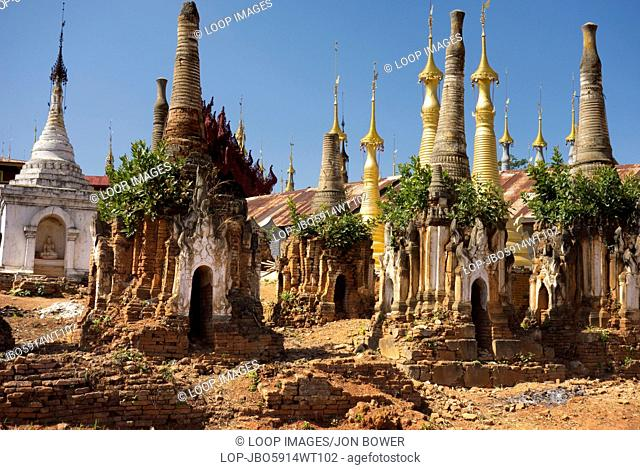 The abandoned and overgrown pagodas of Inn Thein