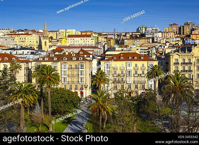 Panoramic view, urban center of Santander city. Cantabria, north Spain. Europe
