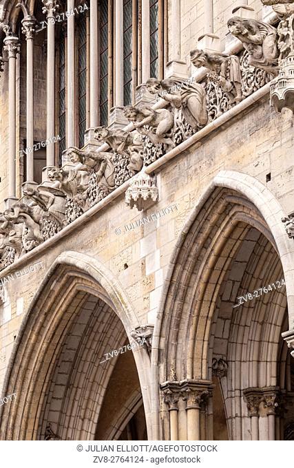 Gargoyles on the facade of Notre Dame de Dijon
