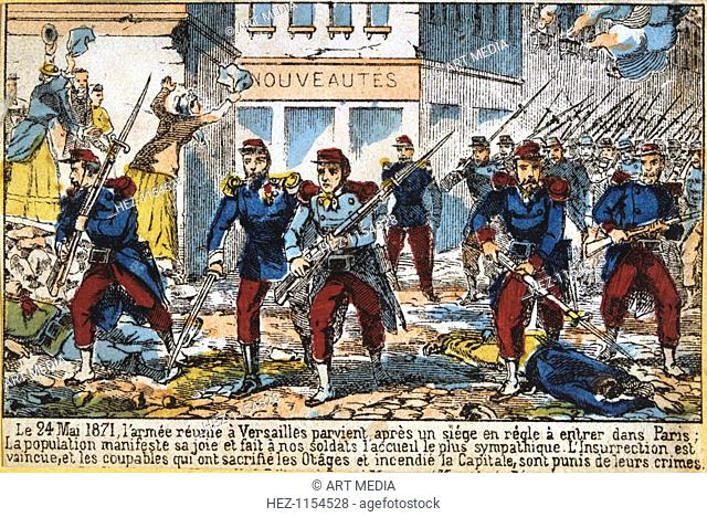 Government soldiers advancing into Paris to suppress the Commune, 24th May 1871. The Paris Commune was established when the citizens of Paris