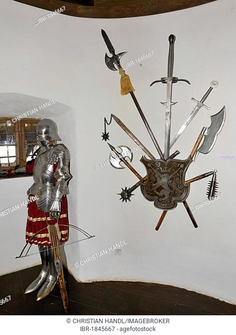 Knight's armour and some weapons, Bran Castle, Toerzburg, Romania, Europe