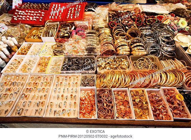 Merchandise for sale at a souvenir shop, Chandi Devi Temple, Haridwar, Uttarakhand, India
