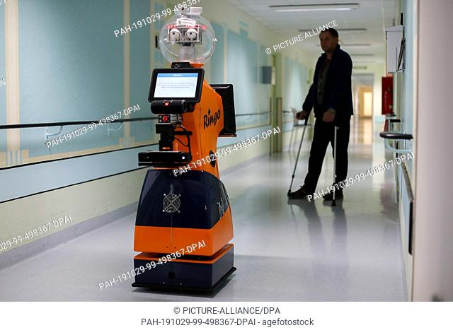 29 October 2019, Thuringia, Eisenberg: A patient trains with the help of Ringo, a robot, walking on a corridor in the hospital Waldkliniken Eisenberg