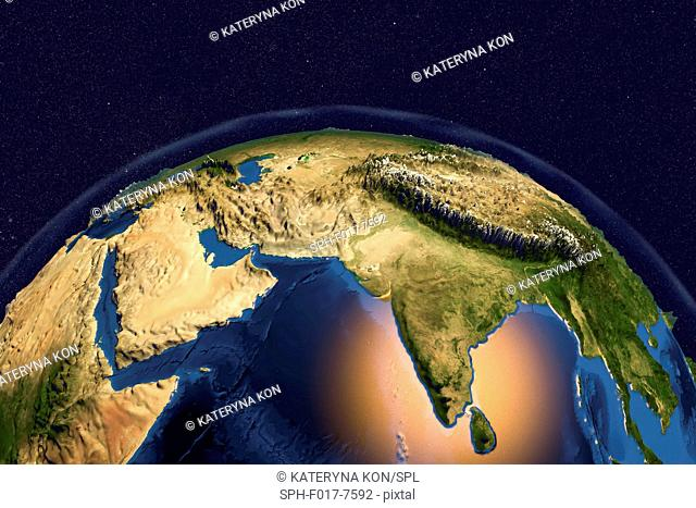 Earth from space. Computer illustration showing the Earth as viewed from space, centred over India and the Arabian Sea. The Arabian peninsula (left) and...