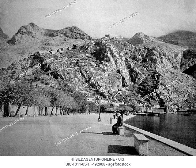 One of the first autotypes of cattaro, kotor, formerly austria, now montenegro, historical photograph, 1884