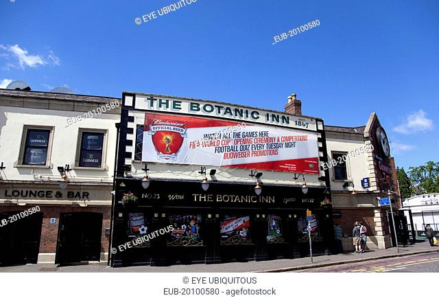 Malone Road Exterior of the Botanic Inn bar with world cup banner on the building