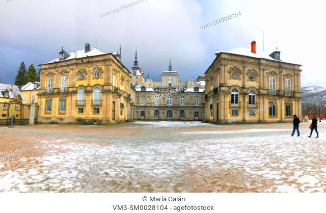 Royal Palace in winter, panoramic view. La Granja de San Ildefonso, Segovia province, Castilla Leon, Spain