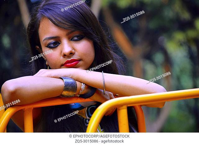 Young girl looking at , Maharashtra