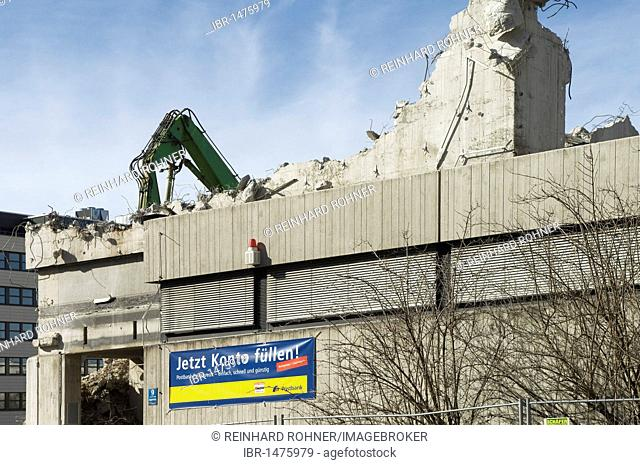 Demolition of a post office building, Angererstrasse 9, economic crisis, grotesque relationship between advertising and ruins, Munich, Bavaria, Germany, Europe