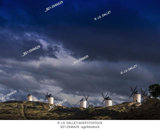 Spain,Castile-La Mancha, Toledo, the famed Don Quixote windmills at Consuegra