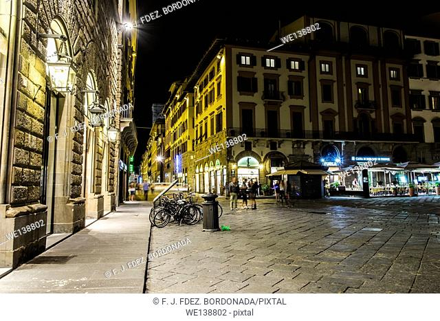 Nightscape of Firenze city centre by night, Italy