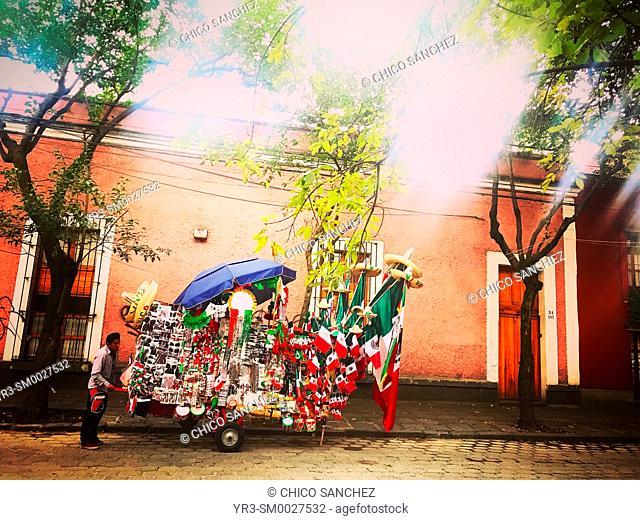 A street vendor sells products with the Mexican flag during Independence Day in Francisco Sosa street in Coyoacan, Mexico City, Mexico