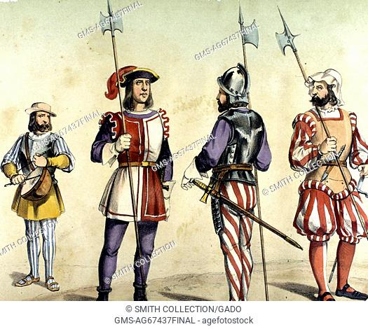 A color lithograph depicting four different classes of soldiers as they would have appeared in 1496, the three soldiers on the left are Spanish