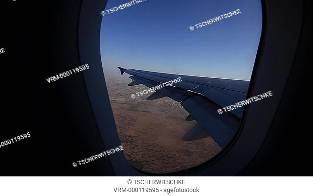 Aircraft window, Morocco, Africa