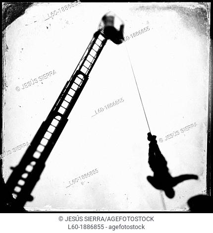 Firefighter, ladder of fire truck