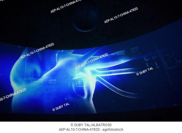 Photograph of a digital projection in the Israeli booth in the Chinese Expo exhibition in the Shanghai