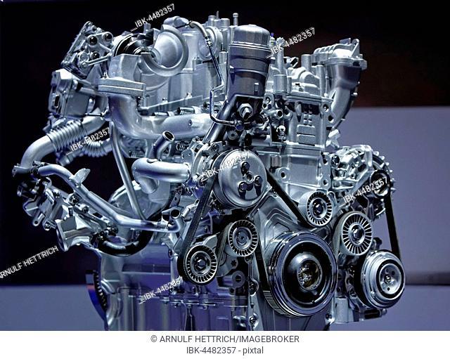 Jaguar engine, automobile fair IAA, Frankfurt, Hesse, Germany