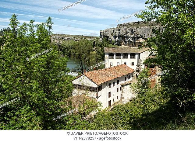 Former hydroelectric power station of La Horadada. Natural Monument of Las Tuerces. Pisuerga river. World Geopark Las Loras. Palencia. Castilla y León