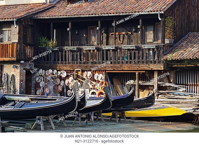 Squero di San Trovaso, a boatyard where gondolas are made and repaired. Dorsoduro, Venice, Veneto, Italy, Europe