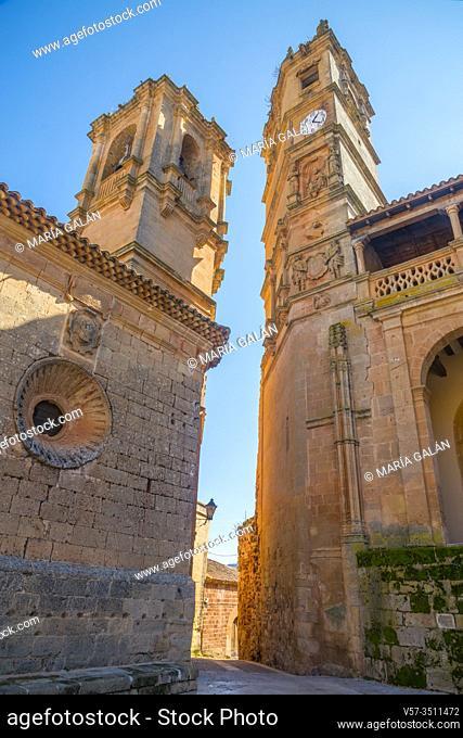 La Trinidad church and Tardon tower, view from below. Alcaraz, Albacete province, Castilla La Mancha, Spain