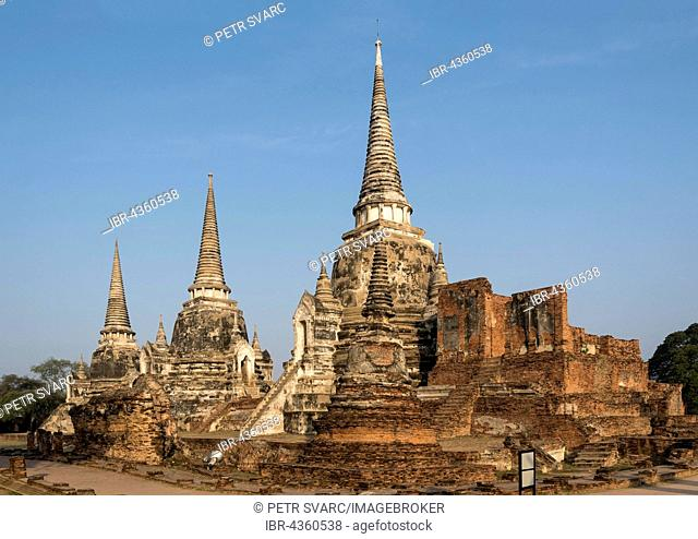 Three chedis, stupas, at Wat Phra Si Sanphet, Buddhistic temple complex, Ayutthaya, Thailand