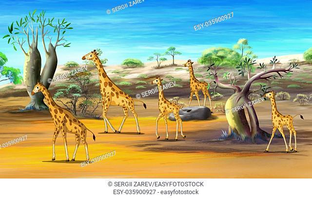 African Giraffes Family Walking at the Savannah. Digital painting cartoon style full color illustration