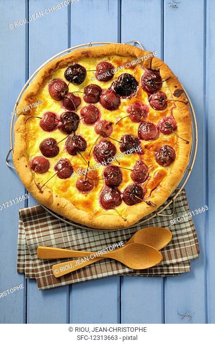 Cherry cake with creme fraiche
