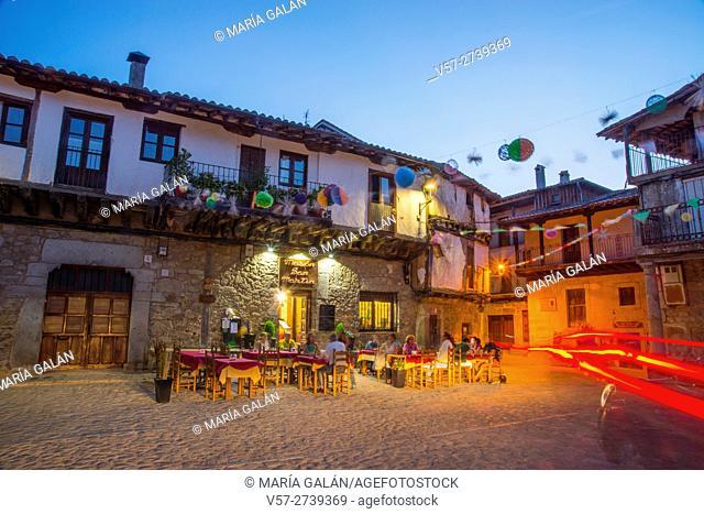 Main Square, night view. San Martin del Castañar, Sierra de Francia Nature Reserve, Salamanca province, Castilla Leon, Spain