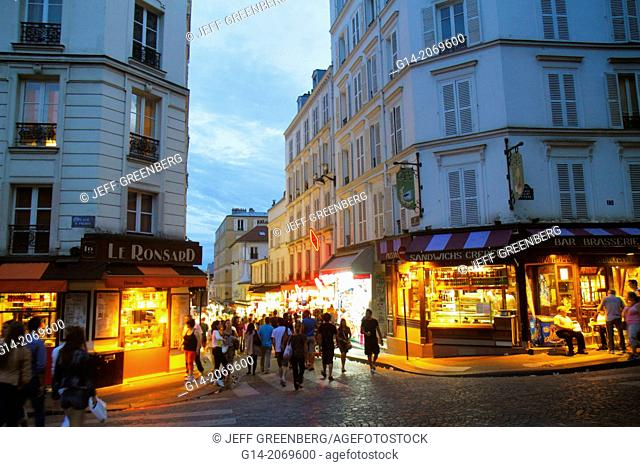 France, Europe, French, Paris, 18th arrondissement, Montmatre, Place Saint St. Pierre, Rue de Steinkerque, night, nightlife, shopping