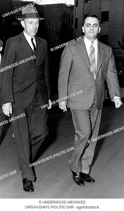 New York, New York: August 26, 1938 Dudley Brothwell leaving the court after testifying that he saw Tammany District Leader James J