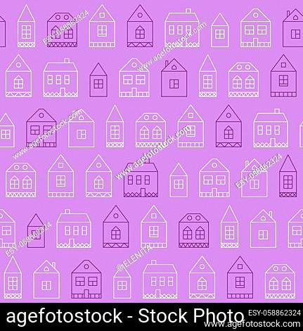 Seamless pattern with abstract decorative houses vector illustration